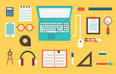 Vector flat set of equipment for education. School objects for creativity. Flat style design — Stock Vector