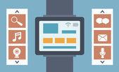 Vector plate illustration des fonctions de surveillance et de la technologie intelligence — Vecteur