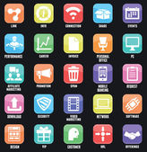 Set of social media buttons for design. Flat outline style design - part 3 — Stock Vector