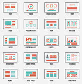 Vector set of sitemaps symbols for webpage. Web design and interface — Stock Vector
