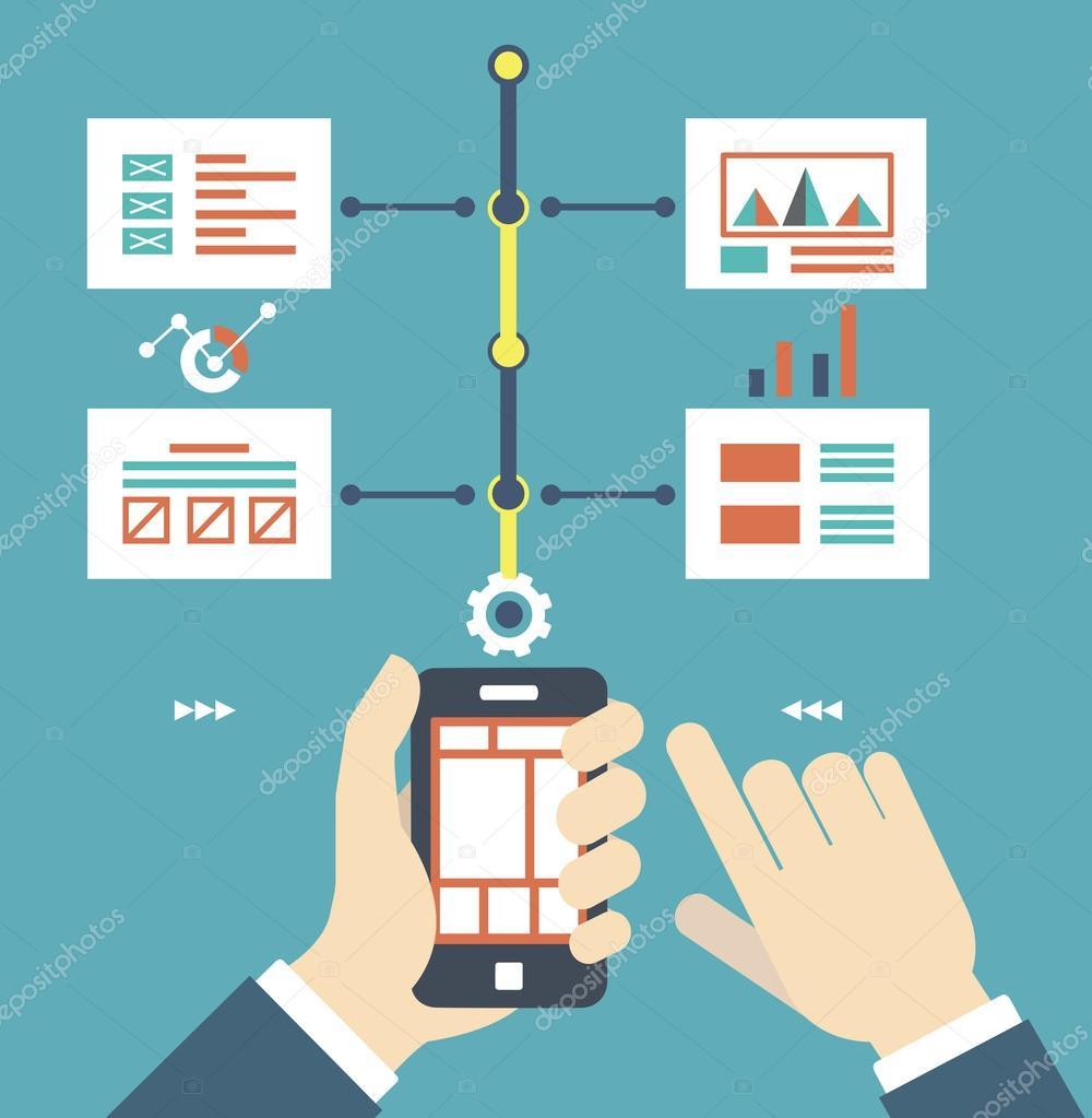 矢量平面插画的线框页的智能手机.内容和工作-矢量图