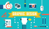 Vector concept of equipment for design. Gadgets for creation. Flat style design — Stock Vector