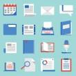 Set of vector flat icons for web and mobile applications. Communications and documents — Stock Vector