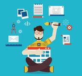 Designer and work — Stock Vector