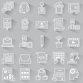 Set of vector business outline icons with shadow — Stock Vector