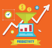Flat concept of productivity business and growth — Stock Vector