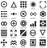 Set of geometric icons as symbols of human qualities — Stock Vector