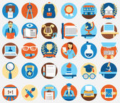 Set of flat education and science icons — Stock Vector