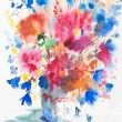 Watercolor painting of l flowers. — Stock Photo