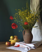 Still life with poppy — Stock Photo