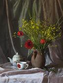 Still life with poppy — Stock Photo