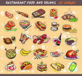 25 food and drink images. vector illustration — Stock Vector
