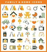 Family and home icons set — Stock Vector