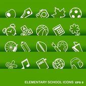 Education Icons, basics, elementary school — Stock Vector