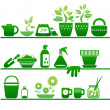 Shelves with gardening stuff — Vector de stock #24858737