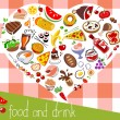 Stock Vector: Assorted food background