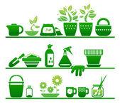 Estantes con cosas de jardinería — Vector de stock