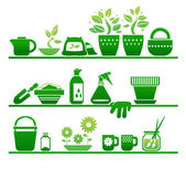 Shelves with gardening stuff — Vector de stock