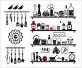 Vector black food and drinks icons set — Stock Vector