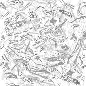 Seamless grungy dinosaur bones pattern — Stock Vector