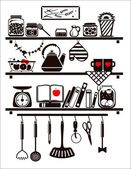 Vector food and drinks icons set, drawn up as kitchen shelves — Stock Vector