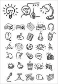 Ícones de escola e faculdade de Doodle — Vetor de Stock