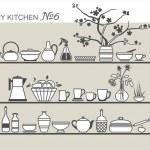 Kitchen utensils on shelves #6 — Stock Vector #30290533