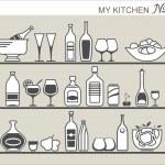 Kitchen utensils on shelves — Stock Vector #30290587