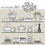 Kitchen utensils on shelves — Stock Vector #30290623