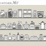 Kitchen utensils on shelves — Stock Vector #30290689