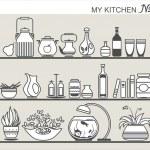 Kitchen utensils on shelves #4 — Stock Vector #30290787