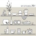 Kitchen utensils on shelves #1 — Stock Vector #30290795