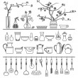 Kitchen tools and utensils. Vector illustration — Stock Vector