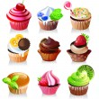 Delicious yummy cupcakes, vector illustration — Stock Vector