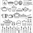 Stock Vector: Kitchen tools and utensils. Vector illustration