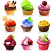 Delicious yummy cupcakes, vector illustration — Stock Vector #30291785