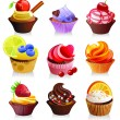 Delicious yummy cupcakes, vector illustration — Stock Vector #30291827