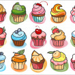 15 colorful delicious cupcakes — Stock Vector