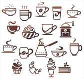 Coffee and tea cups set. Vector icons collection — Stock Vector