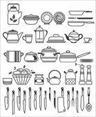 Utensili da cucina e utensili. illustrazione vettoriale — Vettoriale Stock