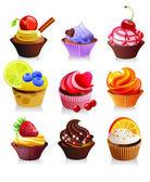 Delicious yummy cupcakes, vector illustration — Stock Vector