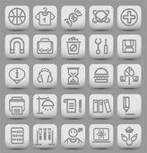 25 botones de escuela y colegio con iconos. ilustración vectorial — Vector de stock