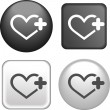 Heart Icon on Buttons Collection — Stock Vector