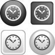Clock Icon on Buttons Collection — Stock Vector