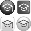 Graduate cap Icon on Buttons Collection — Stock Vector