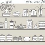 Kitchen utensils on shelves 8 — Stock Vector #31992991
