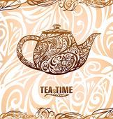 Tea time vector template — Stock Vector