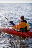 Kayaker in the sea — Stock Photo