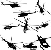 Helicopters collection — Stock Vector