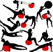 Pilates women — Stock Vector